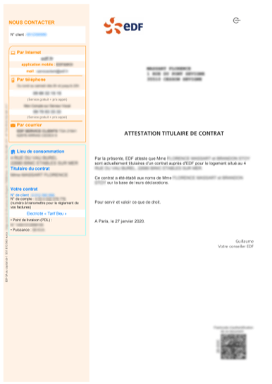 Contract Holder Certificate French to English